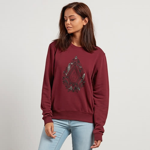 Volcom Sound Check Fleece - burgundy Größe: L Farbe: burgundy