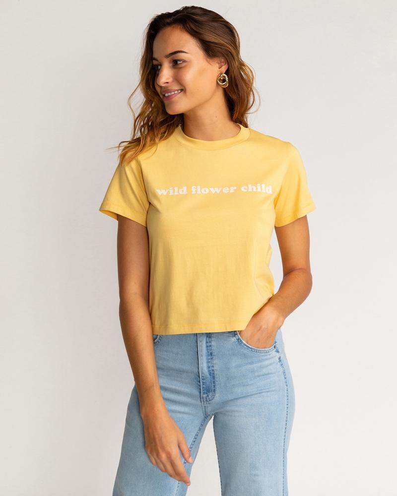 Billabong wms T-Shirt Wild Child pale yellow Größe: S Gelb: paleyellow