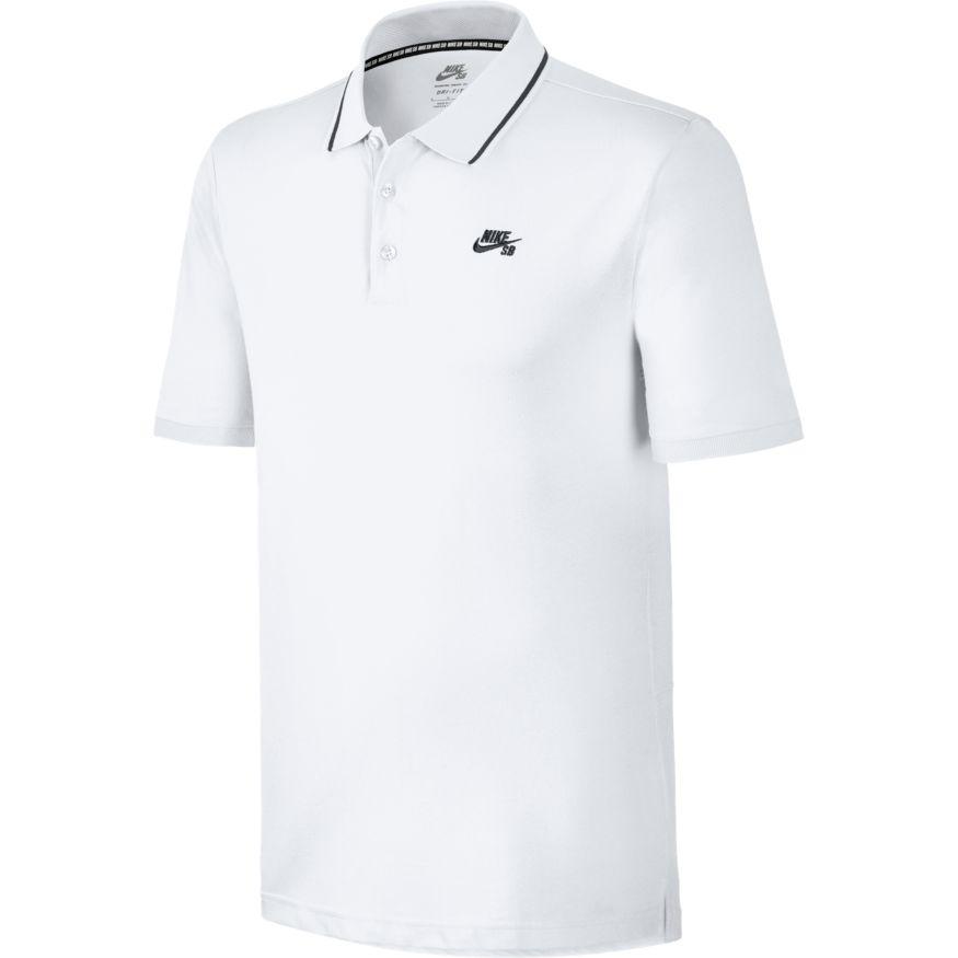 Nike SB Dri-Fit Piqué Tipped Polo - white Größe: XS Farbe: WhtBlack