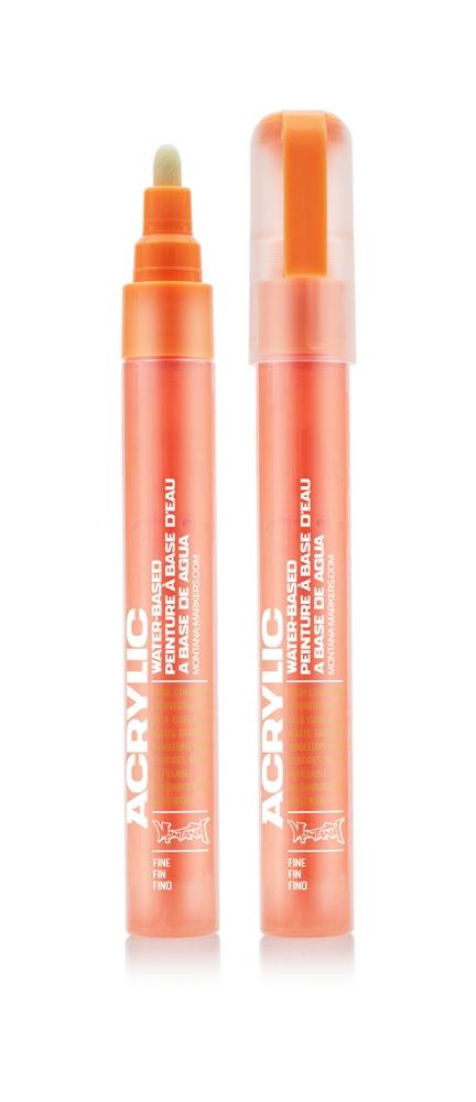 Montana ACRYLIC  Marker 2mm Fine - F2000 Power Orange Farbe: Flour Powe Breite: 2mm