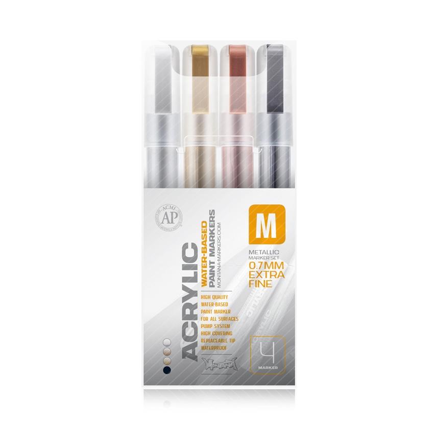 Montana ACRYLIC Marker Set 4er - Extra Fine - 0,7mm Metallic
