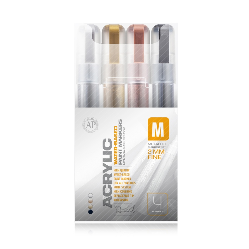 Montana ACRYLIC Marker Set 4er - Fine - 2mm Metallic